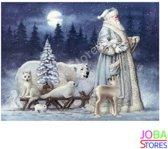 """Diamond Painting """"JobaStores®"""" Kerstman met slee - volledig - 40x50cm"""