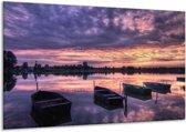 Canvas schilderij Boot | Paars, Wit, Zwart | 120x70cm 1Luik