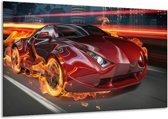 Glasschilderij Auto | Rood, Zwart, Oranje | 120x70cm 1Luik | Foto print op Glas |  F001686