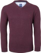 Redmond heren trui katoen - V-hals - bordeaux rood -  Maat XL