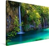 Het Nationaal park Plitvicemeren in Kroatië Canvas 180x120 cm - Foto print op Canvas schilderij (Wanddecoratie woonkamer / slaapkamer) XXL / Groot formaat!