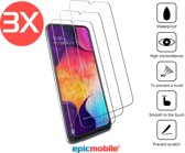 Epicmobile - 3Pack  Samsung Galaxy A50 Screenprotector - Tempered Glass – 3Pack voordeelbundel