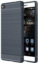 Geborstelde TPU Cover - Huawei P8 - Blauw