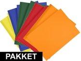 10x A4 hobby karton geel/donkergroen/blauw/oranje/rood