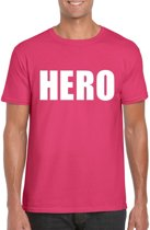 Hero tekst t-shirt roze heren L