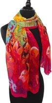 Dames sjaal - zijde - viscose - chiffon - bloemen - zwart - roze - groen - geel - blauw - oranje - magenta - 50 x 150 cm