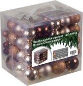 4seasonz Kerstballen set 120 ballen - Kunststof - Champagne/Bruin