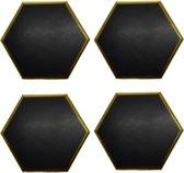 Set van 4 - Luxe Onderzetters Steen - Hexagon - Zwart met Gouden rand