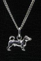 Zilveren Jack russell terrier gladhaar met staart ketting hanger - klein