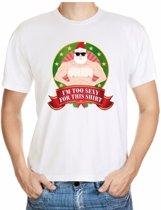 Foute kerst shirt wit - Gespierde Kerstman - Im too sexy for this shirt - voor heren L