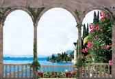 Fotobehang Lake Through The Arches | XXXL - 416cm x 254cm | 130g/m2 Vlies