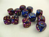 Chessex dobbelstenen set, 12 6-zijdig 16 mm, Gemini blue-purple w/gold