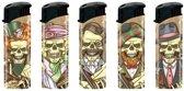 Aansteker - Aanstekers - Navulbaar - Hervulbaar - Gasaansteker - Skulls - Skeletten - 5 Stuks