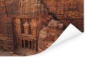 Oude tempel uit zandsteen gesneden Petra in Jordanië Poster 90x60 cm - Foto print op Poster (wanddecoratie woonkamer / slaapkamer)