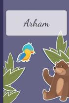 Arham: Personalized Notebooks - Sketchbook for Kids with Name Tag - Drawing for Beginners with 110 Dot Grid Pages - 6x9 / A5