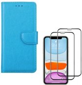 iPhone 11 - Bookcase turquoise - portemonee hoesje + 2X Full cover Tempered Glass Screenprotector