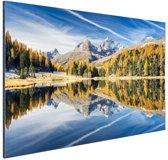 Weerspiegeling in het water bij de Alpen Aluminium 60x40 cm - Foto print op Aluminium (metaal wanddecoratie)