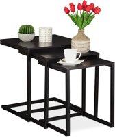 relaxdays bijzettafel set - salontafel set van 3 - u vorm hout - bijzettafeltjes zwart