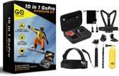 10 in 1 GoPro Hero Accessoire set - luxe opbergkoffer met GoPro accessoires - inclusief waterproof housing GoPro - Geschikt voor GoPro 1,2,3, 3+, 4 - met Nederlandse handleiding - GadgetQounts