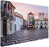 Stadsplein Lissabon Canvas 30x20 cm - klein - Foto print op Canvas schilderij (Wanddecoratie woonkamer / slaapkamer) / Steden Canvas Schilderijen