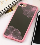 Apple Iphone 7 / 8 Siliconen spiegel hoesje (licht roze bloemen)
