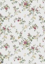 Dutch Wallcoverings Vlakvinylbehang bloemetjes - beige/groen/rood