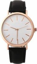 Fako® - Horloge - Rosé Goudkleurig - Ø 41mm - Zwart