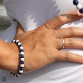 Kralen armband blauw en wit