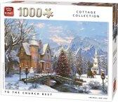 King Puzzel 1000 Stukjes (68 x 49 cm) - Kerstpuzzel Kerk met Kerstmis  - Legpuzzel Winter Cottage