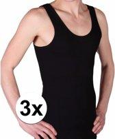 3x Beeren heren hemd/singlet Classic zwart maat M - Ondergoed voor heren