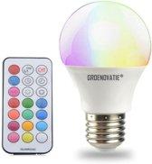 Groenovatie LED Lamp E27 Fitting - RGBW - 5W - Dimbaar - 123x70 mm - Incl. Afstandsbediening