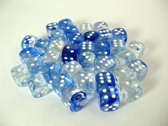 Chessex dobbelstenen set, 36 6-zijdig 12 mm, Nebula dark blue w/white