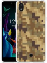 LG K20 Hoesje Pixel Camouflage Brown