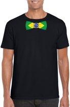 Zwart t-shirt met Braziliaanse vlag strikje heren - Brazilie supporter S