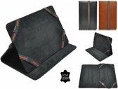 Universele echt lederen Cover voor 10 inch Tablet, Luxe Hoes, Multistand Case · Kleur Bruin