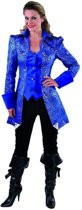 Middeleeuwen & Renaissance Kostuum | Met Brokaat Versierde Mantel En Vest Hertogin Blauw | Vrouw | Medium | Carnaval kostuum | Verkleedkleding