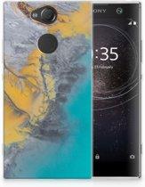 Sony Xperia XA2 TPU Hoesje Design Marble Blue Gold