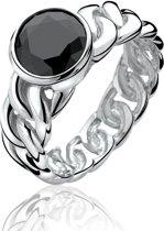 Zinzi - Zilveren Gourmet Ring - Zirkonia - Zwart - Maat 56 ZIR656-56