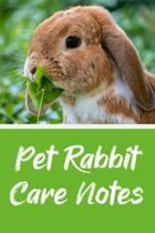 Pet Rabbit Care Notes: Specially Designed Fun Kid-Friendly Daily Rabbit Log Book to Look After All Your Small Pet's Needs. Great For Recordin