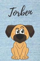 Torben Hund-Malbuch / Notizbuch Tagebuch: Individuelles personalisiertes blanko Jungen & M�nner Namen Notizbuch, blanko DIN A5 Seiten. Ideal als Uni .