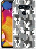 LG V40 Hoesje Pixel Camouflage Grey