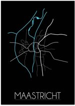 Plattegrond Maastricht Stadskaart poster DesignClaud - Zwart - A3 + Fotolijst wit