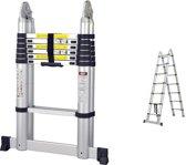 UltraToolz Telescopische Vouwladder 2x7 sporten - Inclusief Stabiliteitsbalk - Werkhoogte 4.40m