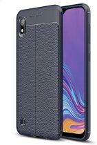 Mobigear Litchi TPU Hoesje Navy Blauw Samsung Galaxy A10