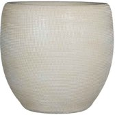 Mica Decorations - ingmar pot gebroken wit relief - maat in cm: 27 x 27