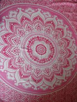 hamamdoek sarong saunadoek lengte 115 cm breedte 165 cm kleuren roze wit bloemen versierd met franjes