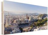 Panoramafoto van de Spaanse stad Malaga Vurenhout met planken 80x40 cm - Foto print op Hout (Wanddecoratie)