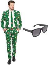 Kerst print heren kostuum / pak - maat 46 (S) met gratis zonnebril