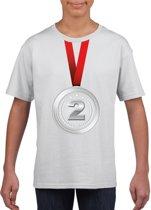 Zilveren medaille kampioen shirt wit jongens en meisjes - Winnaar shirt Nr 2 kinderen M (134-140)