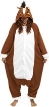 KIMU Onesie paard pak bruin kostuum - maat XS-S - paardenpak jumpsuit huispak festival